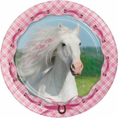 Heart My Horse 9 Inch Paper Plates Girls Ranch Pony Birthday Party - Horse Paper Plates
