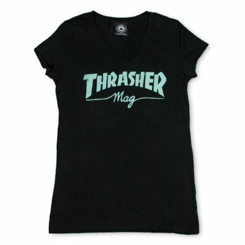 *NEW* Thrasher Girls Mag Logo V-Neck T-Shirt Small Black *100% AUTHENTIC*