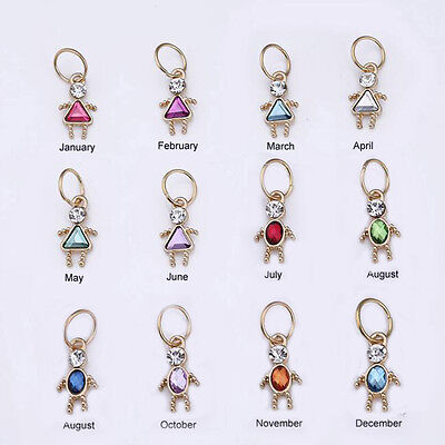 Birthstone Boy/ Girl Shaped Charm, GOLD Plate, TWO SIZES! 3.99 to 4.99, Bead USA Gold Birthstone Charm