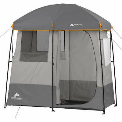 Shower Tent Vest-pocket 2-Room RV Bathroom Camp Camping Outdoor Gray Shelter Pool