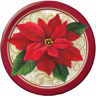 Poinsettia Lace 9 Inch Paper Plates 8 Pack Winter Christmas Party Decoration