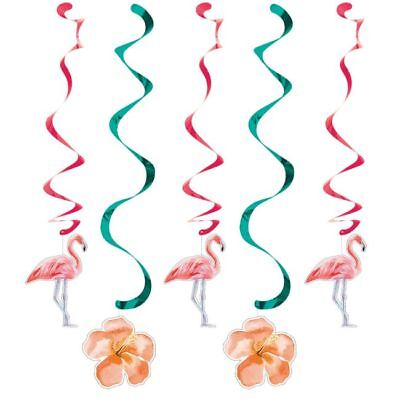 Hawaiian Luau Party Decorations Island Oasis Flamingo Hanging Danglers 5 Pack