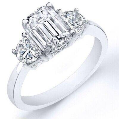 1.51 Ct. Emerald Cut Natural Diamond Ring Engagement w/ Half Moons F, VS2 (GIA)