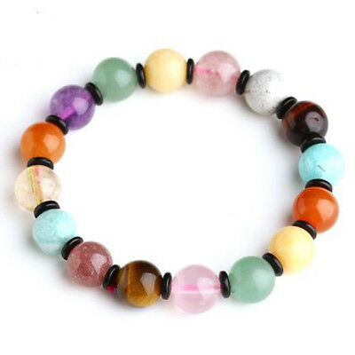 Amethyst Rose Quartz Citrine Agate Multi Colored Crystal Stone Beads Bracelet