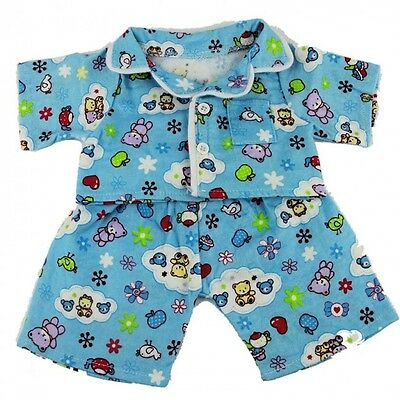 "Blue cozy pyjamas pjs Teddy Bear Clothes to fit 15"" build a bear"