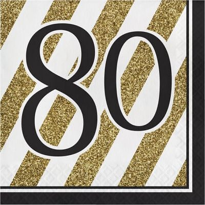 Black and Gold 80th Birthday Lunch Napkins 80 Birthday Party Decoration - Black And Gold Napkins