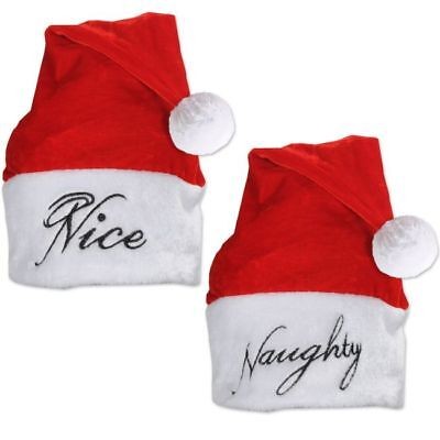 Plush Naughty Nice Santa Hat Adult Christmas Hats Wearable Christmas Party