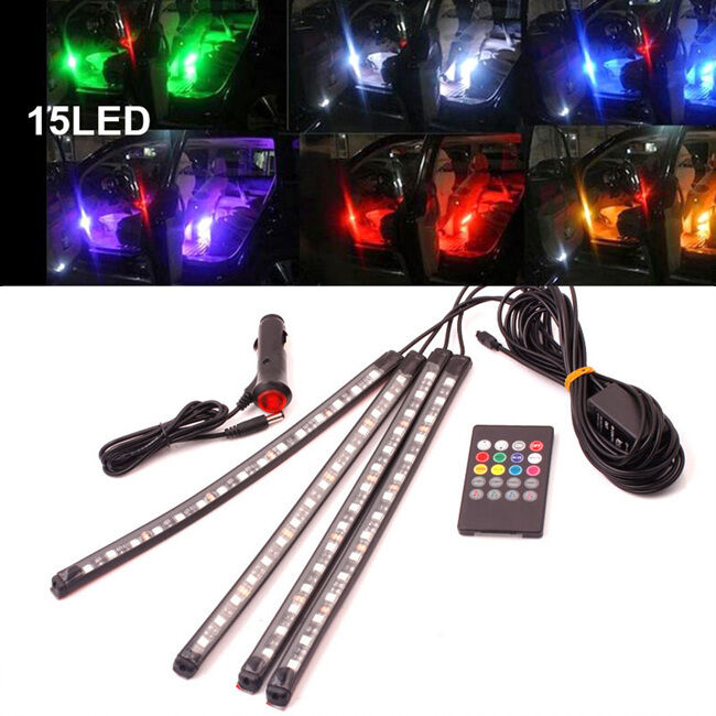 15 led rgb lampe voiture int rieur allume cigare 12v t l commande musique d co eur 10 99. Black Bedroom Furniture Sets. Home Design Ideas