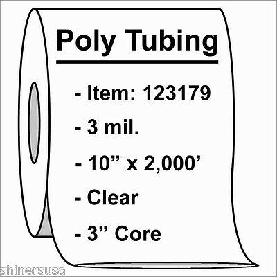 Poly Tubing Roll 10x2000 3 Mil Clear Heat Sealable Plastic Bag On Roll 123179