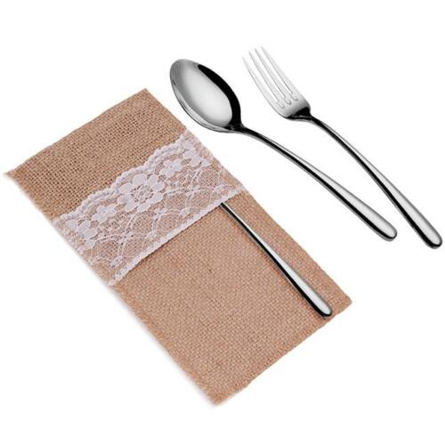 Natural Burlap Napkin Holder Knife Fork Cutlery Lace Pouch Bag Wedding Party New