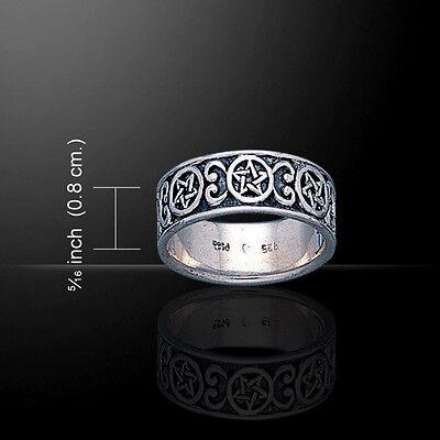 Pentagram Pentacle .925 Sterling Silver Band Ring By Pete...