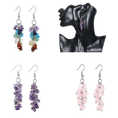 (Lady Chakra Gemstone Amethyst Rose Quartz Ear Hook Drop Earring Jewlery-NJ)