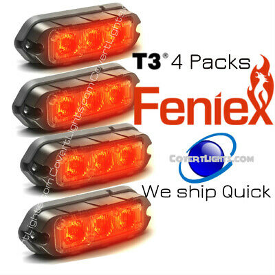 Feniex T3 Led Surface Mount Warning Strobe Light 4 Pack Red