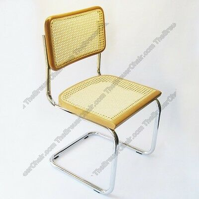 Marcel Breuer Cesca Cane Side Chair In Honey Oak W  Chrome Finish Made In Italy