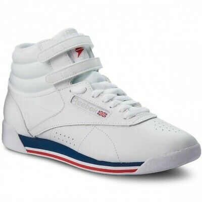Women's Reebok Sneakers - Freestyle Hi - White/Red/Blue - Size 6M - CN2964 - New