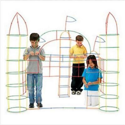 Straw Connectors (100Pcs Kids Building Construction Toys Plastic Straw Builders Connectors)