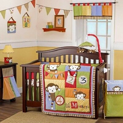 Cocalo Grow w/ Baby 6 Piece Four Lil Monkeys Crib Bedding Set New Four Piece Crib
