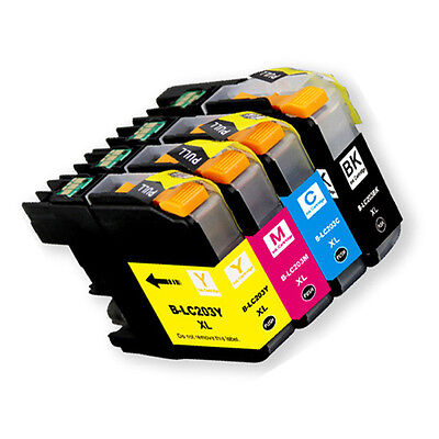 4PK Ink Cartridge Set + chip for Brother LC201 LC203XL MFC
