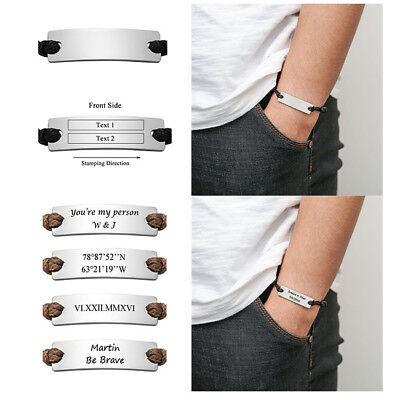 Custom Engraved Men Bracelet Leather Stainless Steel Tag Bar Monogram Adjustable