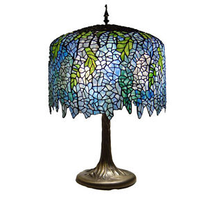Tiffany Style Wisteria Blue Table Lamp Light Lamps New Ebay