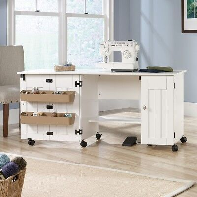 Sewing Machine Cabinet White Drop Leaf Craft Table Cart Storage Bin Organizer   for sale  Kerrville