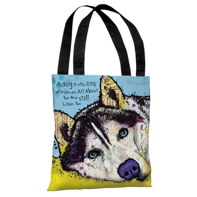 One Bella Casa 72128TT18P 18 in. Siberian Husky with Text Polyester Tote Bag ...