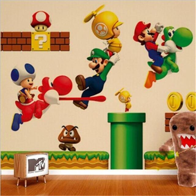 Super Mario Wall Stickers Decals Removable Kids Boys Bedroom Nursery ...