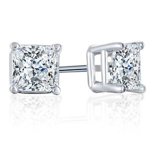 14K WG 1/3ctw Princess cut Diamond 4-Prong Stud Earrings (H-I,I2-I3)