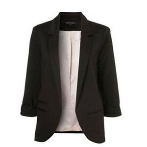 femmes veste costume blazer d contract casual 3 4 manche styleoa noir xl ebay. Black Bedroom Furniture Sets. Home Design Ideas
