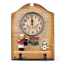 Unique Large Cook Chef Shape Wall Clock Home Hook Decor Decoration Home New ige