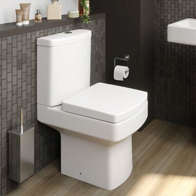 Close Coupled Bathroom Toilet Modern White Square Ceramic Soft Close Seat WC NDT