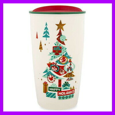 Disney Parks Starbucks Happy Holidays Ceramic Travel Tumbler 12oz Mug Lid NEW