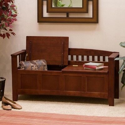 "Entryway Bench Wood Large 50"" Brown Shoe Storage For Foyer Mudroom Free Shipping"