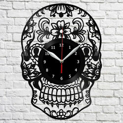 Skull Vinyl Record Wall Clock Fun Art Home Decor The Best Original Gift 4059