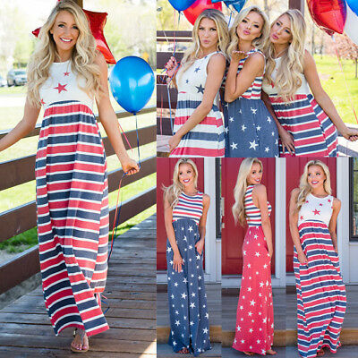 US Stock Size Women's Floral Flag 4th of July Maxi Dress Cocktail Party Sundress (4th Of July Dress)