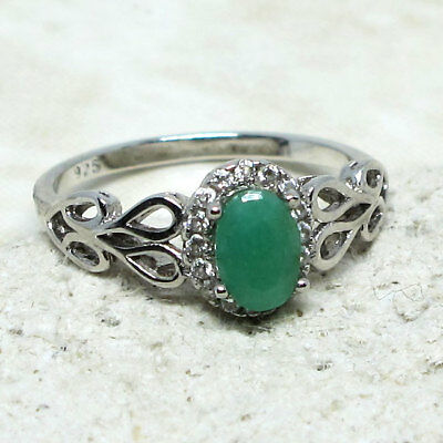 UNIQUE 0.5 CT GENUINE AFRICAN EMERALD 925 STERLING SILVER RING SIZE -