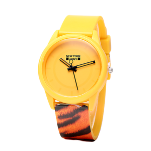 Newyork-Army-Yellow-Tiger-Print-Plastic-Strap-Watch-NYA1312-No-BOx
