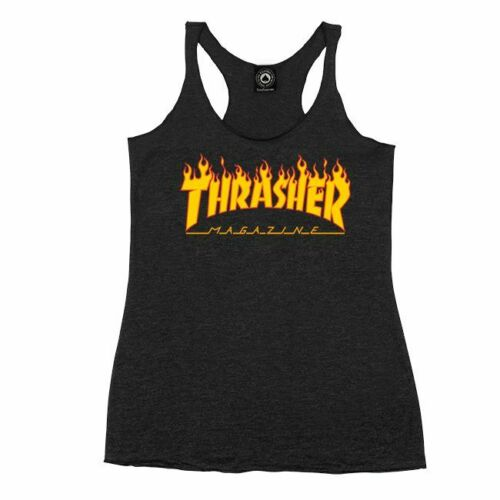 *NEW* Thrasher Girls Flames Racerback Tank Top Medium Black *100% AUTHENTIC*