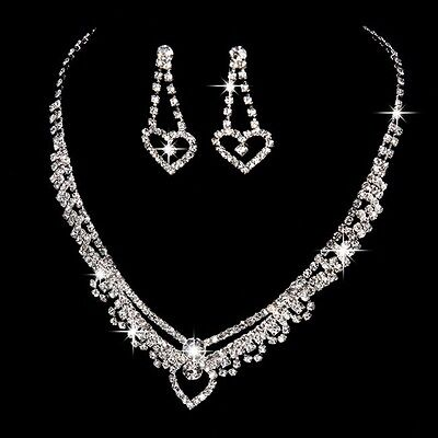 Silver Plated Heart Shape Rhinestone Necklace, Earrings Bridal Prom Jewelry Set