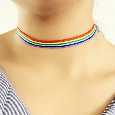 New LGBT Rainbow Gay Lesbian Pride Choker Necklace Lace Ribbon Collar - Gay Pride Necklace