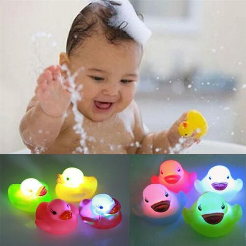 LED Light Toy for Kids Bathroom Bath Tub Floating Duck Color Changing 4pcs