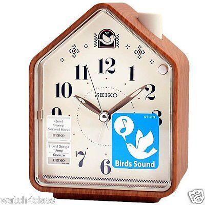 Seiko ] 2 Bird Songs bedside Alarm Clock quiet QHP005A,Wood CLR House+FREE SHIP