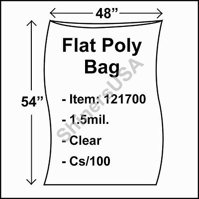 100 1.5-Mil 48x54 Clear Poly Bag Open Top Lay Flat Packaging 121700