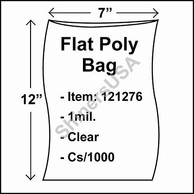 1000 1-Mil 7x12 Clear Poly Bag Open Top Lay Flat Packaging 121276