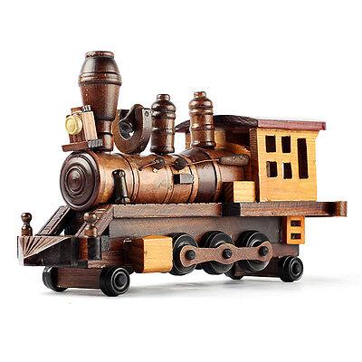 Interior Design Decoration Antique Wood Model Miniature Train Toy Props T3920
