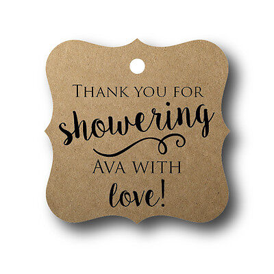 24 Thank you for showering baby with love! - Baby Shower Favor Tag Personalized Baby Shower Favor Tags