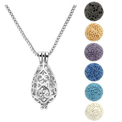 Lava Bead Chakra Essential Oil Diffuser Ball Hollow Oval Locket Necklace Set US - Bead Sets