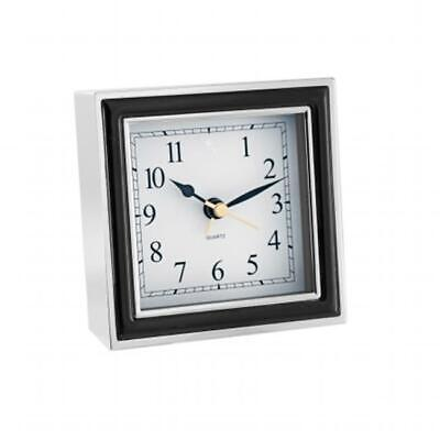 Natico 10-45888B ALARM CLOCK BLACK ENAMEL-SILVER CASE
