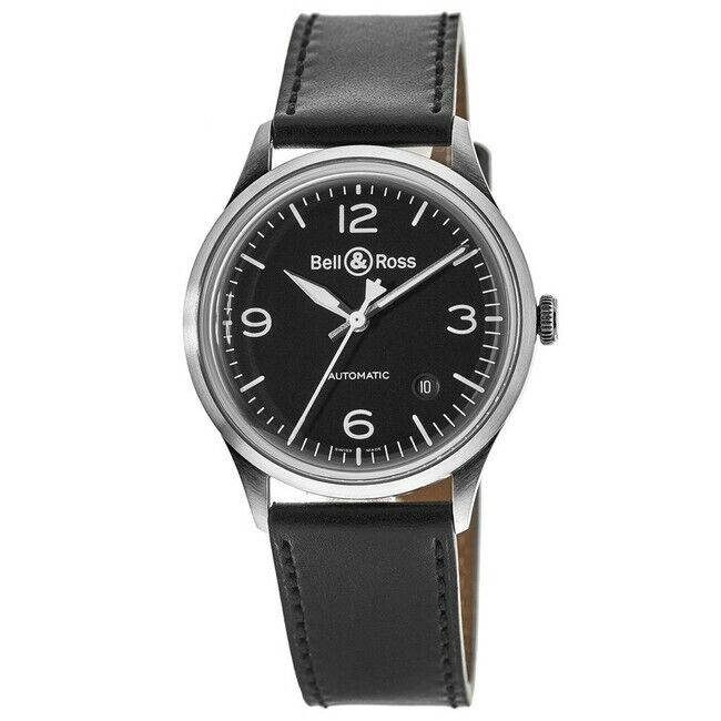 New Bell & Ross BR V1-92 Black Steel Leather Strap Men's Watch BRV192-BL-ST/SCA - watch picture 1