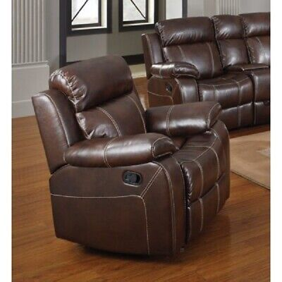 Leather Recliner Glider Reclining Chair Genuine Lazy Seating Padded Arms Plush Chestnut Leather Recliner